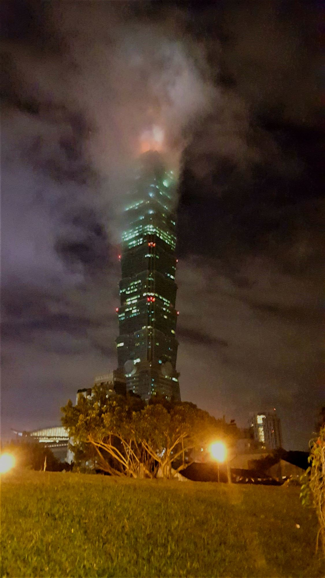 Taipei101 Taipei Taiwan by night cloudy