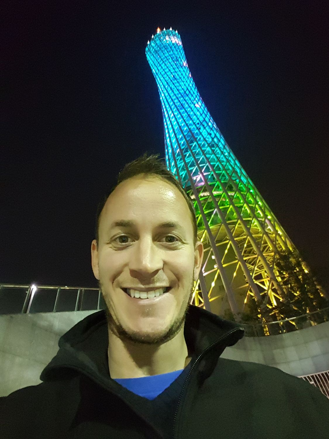 Top things to do China Guangzhou Canton Tower night happy face traveller